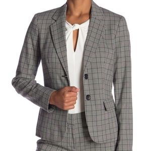 NINE WEST Women's Gray Plaid Pocketed Dual Button
